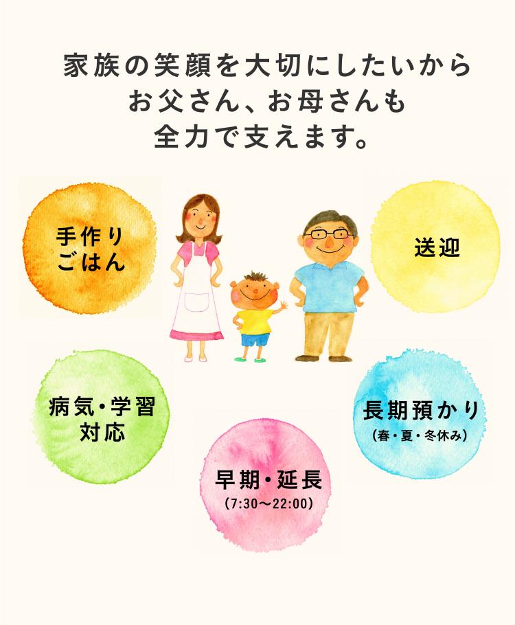 もちろん、子どもたちだけでなく、お父さん、お母さんも全力で支えます。